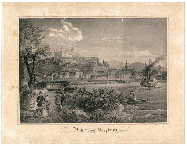 Fritz Werner – Bratislava v 19.storočí-pohľad z juhu