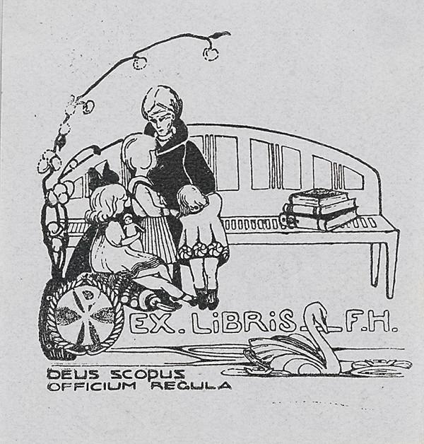 Stredoeurópsky grafik z 20. storočia - Ex libris F.H.
