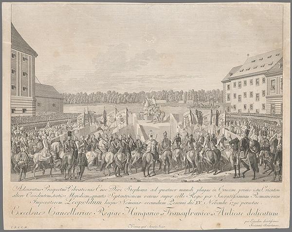 Rakúsky grafik z 18. storočia - Korunovácia Leopolda II. v Bratislave