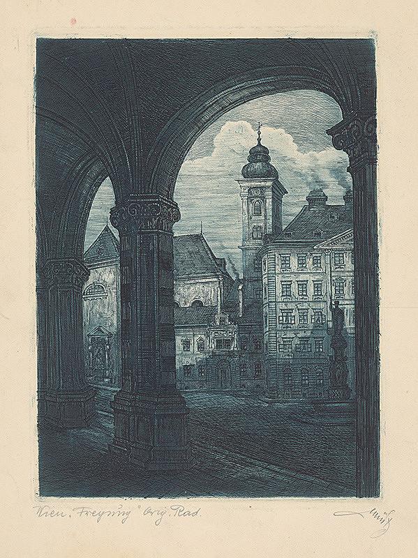 Rakúsky grafik z 20. storočia - Námestie vo Viedni