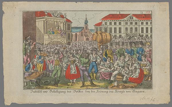 Stredoeurópsky grafik z 19. storočia - Ľudová slávnosť pri príležitosti korunovácie Ferdinanda V.
