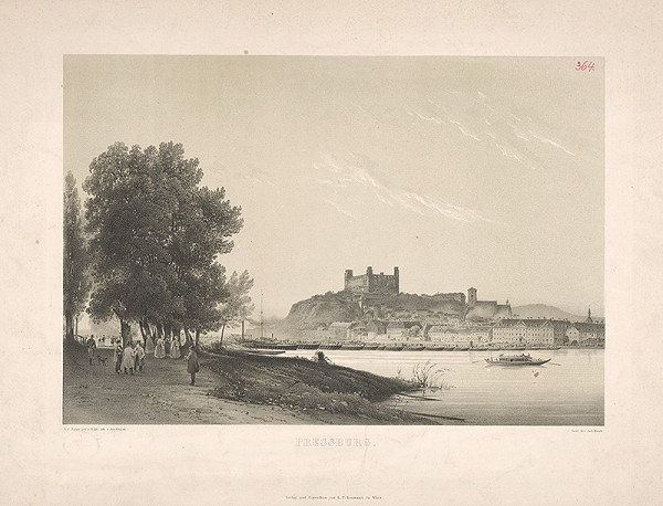 Rudolf Alt, Johann Rauh, Franz Josef Sandmann - Bratislava v 19. storočí - z juhu