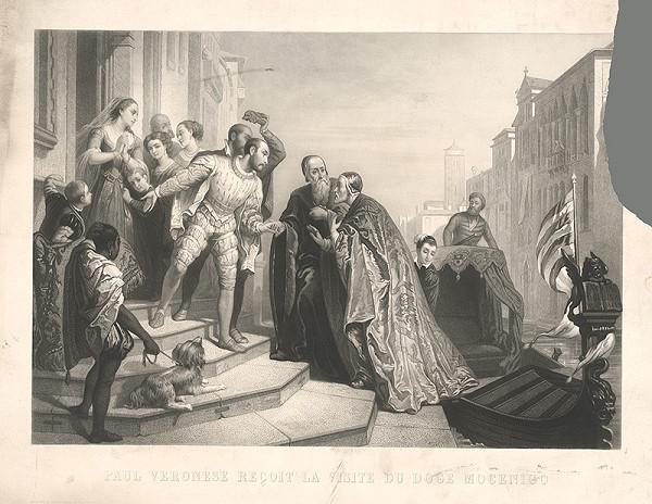 Francúzsky grafik z 19. storočia – Veronesse vracia návštevu dóžovi Mocenigovi