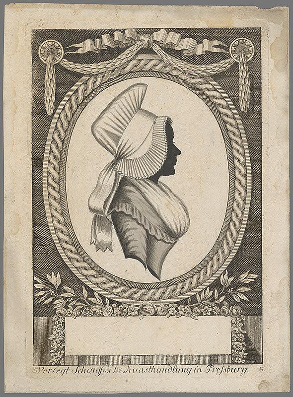 Stredoeurópsky grafik z 18. storočia – Poprsie dámy v siluete