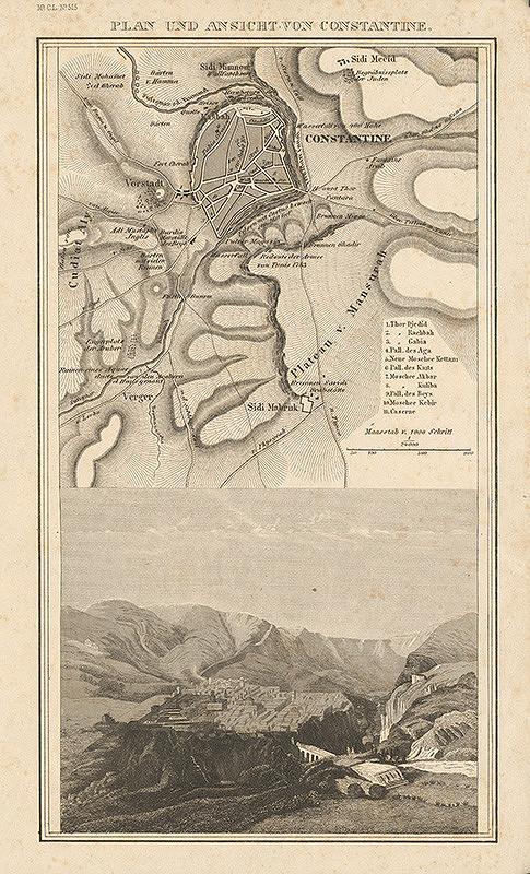 Nemecký grafik z 19. storočia - Plán a pohľad na Constantine