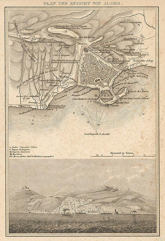 Nemecký grafik z 19. storočia - Plán a pohľad na Alžír