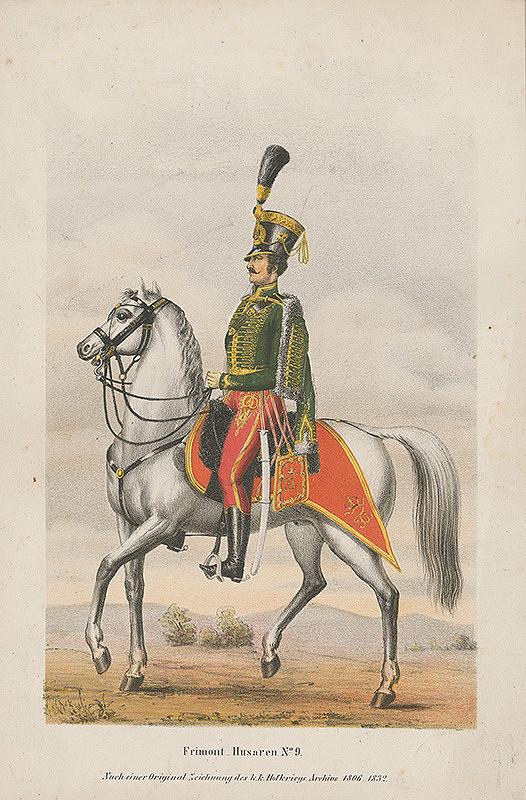 Rakúsky grafik z 19. storočia - Uhorský husár na koni