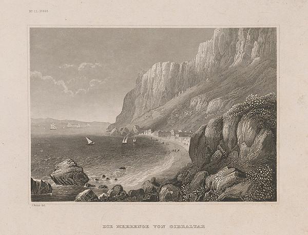 Nemecký grafik z 19. storočia - Morská úžina od Gibraltaru