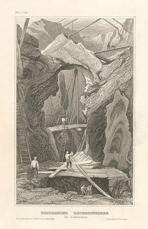 Nemecký grafik z 19. storočia - Medené bane v Katarinsbergu vo Švédsku