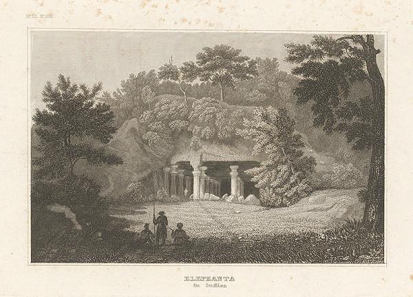 Nemecký grafik z 19. storočia - Elephanta v Indii