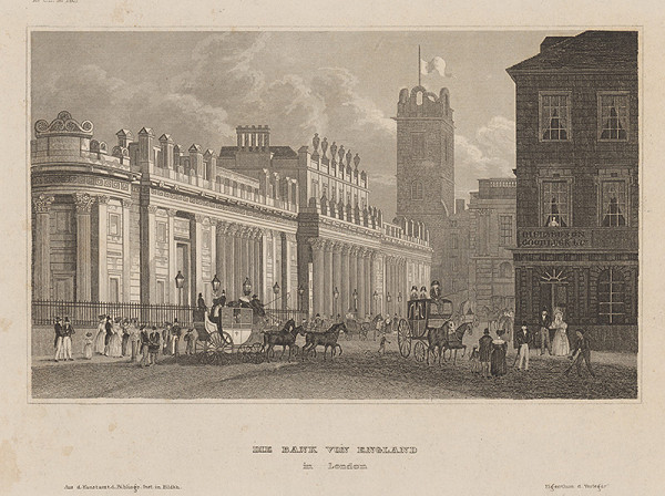 Stredoeurópsky grafik z 19. storočia – Banka v Anglicku v Londýne