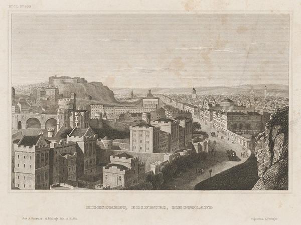 Stredoeurópsky grafik z 19. storočia - Highstreet, Edinburg, Schottland