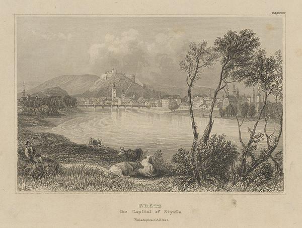 Nemecký grafik z 19. storočia - Pohľad na Grätz