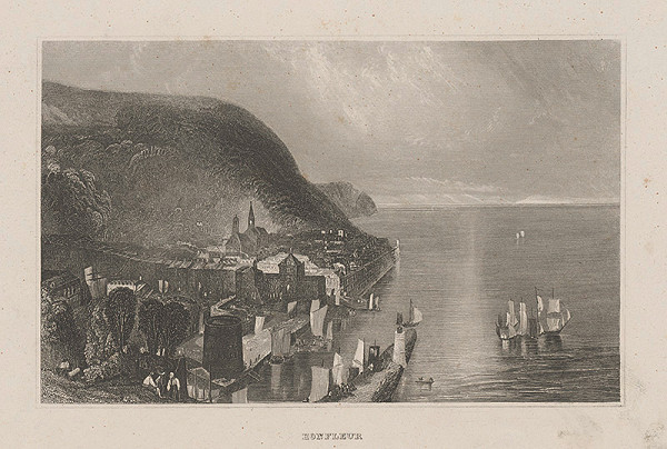Nemecký grafik z 19. storočia - Pohľad na Honfleur