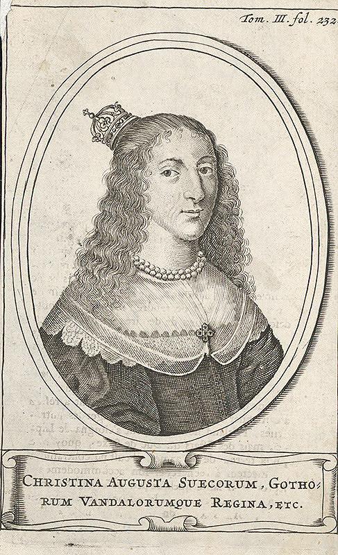 Nemecký grafik z prelomu 17. - 18. storočia – Portrét kráľovnej Kristíny I. Švédskej