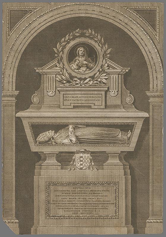 Taliansky grafik z prelomu 18. - 19. storočia – Náhrobok biskupa