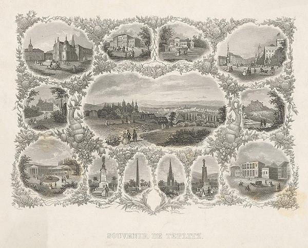 Stredoeurópsky grafik z 19. storočia - Spomienka na Teplice
