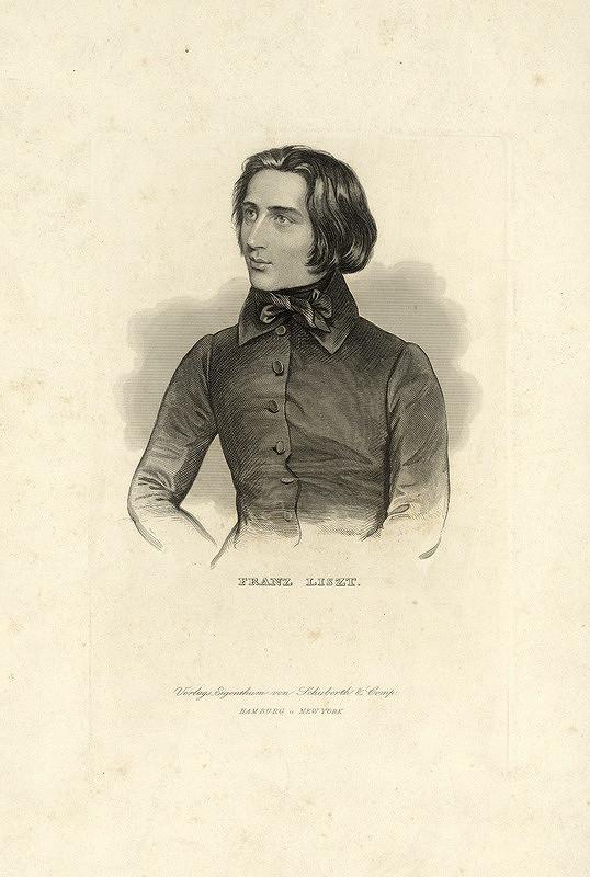 Stredoeurópsky grafik z 1. polovice 19. storočia – Portrét mladého Liszta