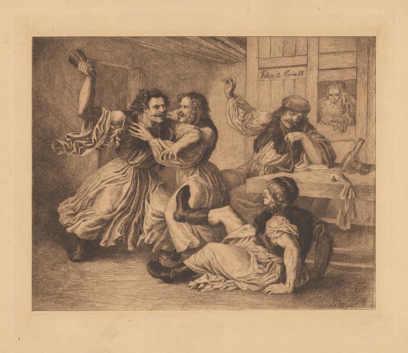 Mihály Szemlér – Hádka v krčme, 1864, Galéria umenia Ernesta Zmetáka