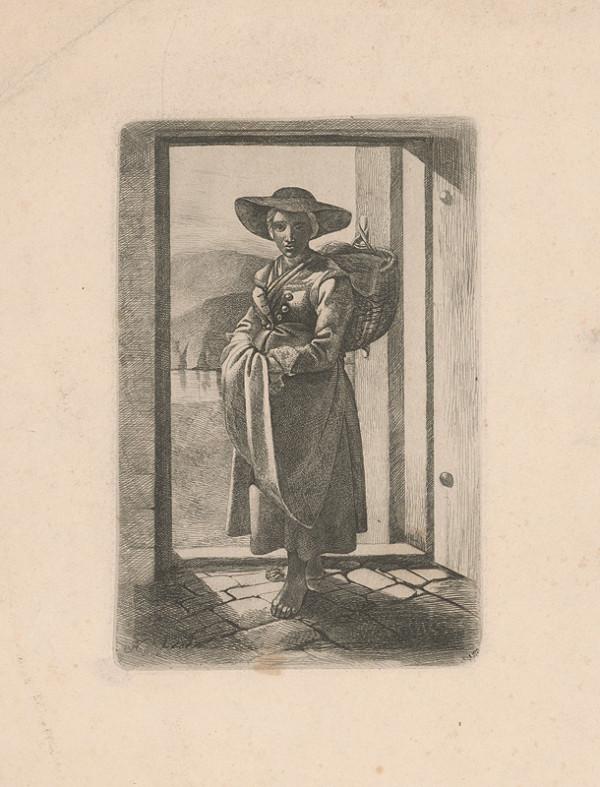 Stredoeurópsky grafik z polovice 19. storočia, AKH – Tirolanka v širokom klobúku s košom na chrbte