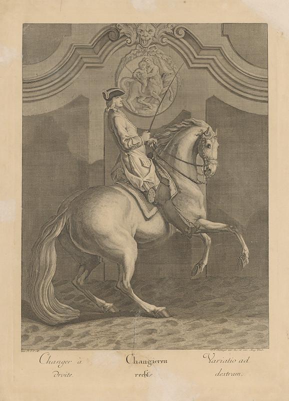 Johann Elias Ridinger, P.S.C.M. Monogramista - Krasojazdecká variácia vpravo