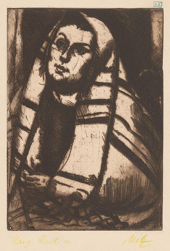 Béla Uitz – Portrét ženy v šatke