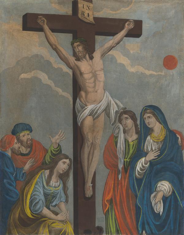Stredoeurópsky grafik – Golgota s Ukrižovaným, Máriou, Jánom, Magdalénou, Jozefom z Arimatie