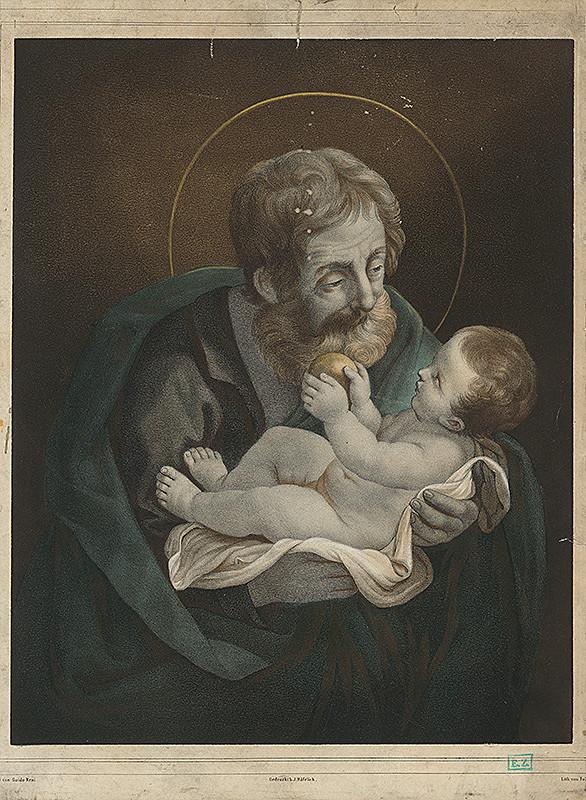 Rakúsky litograf, Guido Reni, Johann Höfelich - Svätý Jozef s Ježiškom