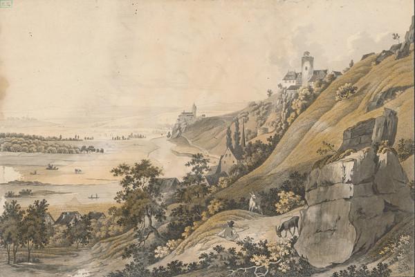 Stredoeurópsky grafik - Pohľad na kostol a hrad nad záhybom rieky
