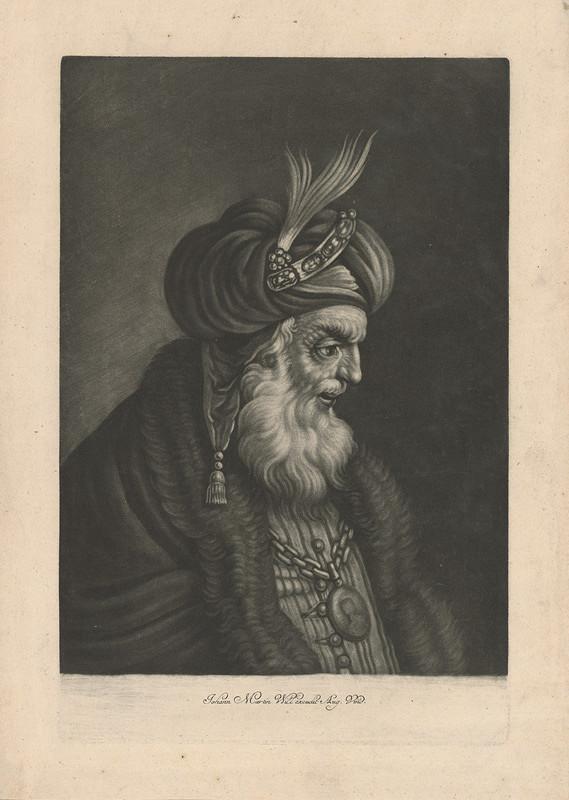 Johann Martin Will - Portrét muža v turbane