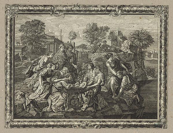 Taliansky grafik z 18. storočia – Nájdenie malého Mojžiša v koši