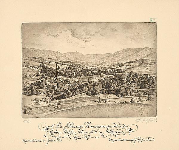 Monogramista P. L. – Pohľad na továreň A. Richtera v Mildenau
