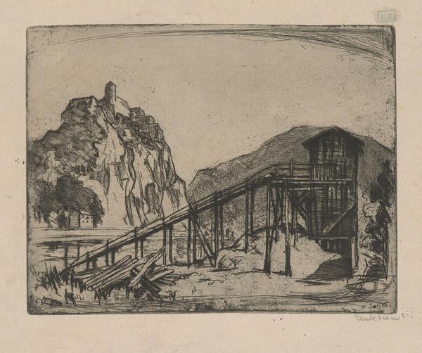 Stredoeurópsky grafik - Ťažba dreva pod hradom
