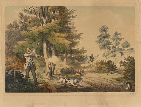 Rakúsky grafik z 2. polovice 19. storočia – Poľovačka na zajace