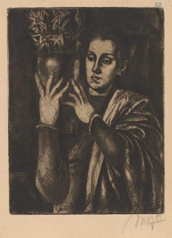 Béla Uitz – Dievča s vázou