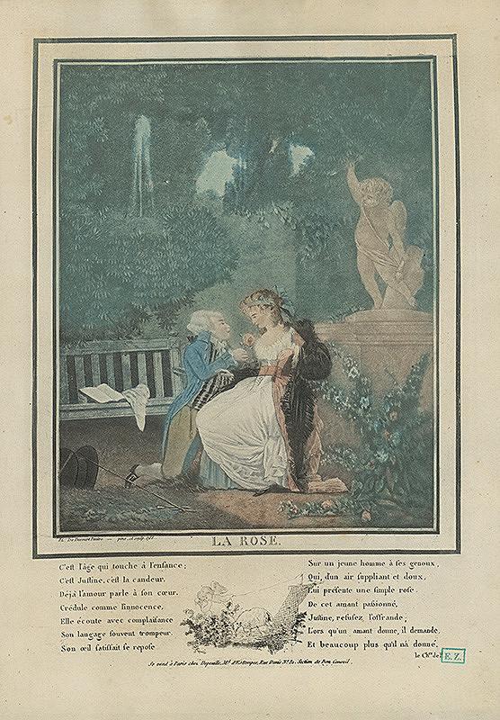 Philibert Louis Debucourt – Galantná scéna v ružovej záhrade