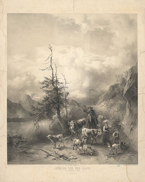 Friedrich Gauermann, Eduard Weixlgärtner - Vyháňanie stáda z Álp
