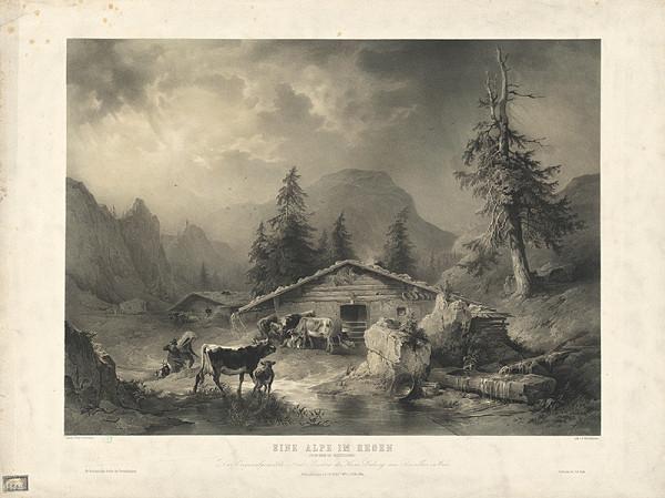 Friedrich Gauermann, Johann Rauh, Eduard Weixlgärtner - Alpy v daždi