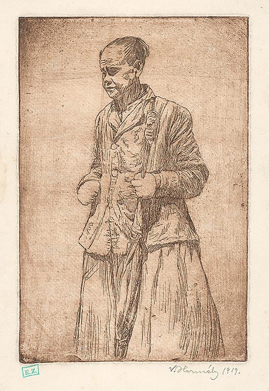 Viktor Hermély - Portrét starej ženy s dáždnikom