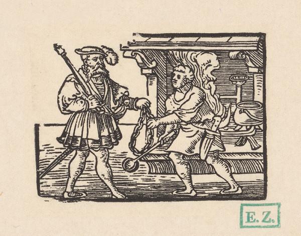 Kopisti, Hans Brosamer – Kuchár podáva velmožovi reťaz