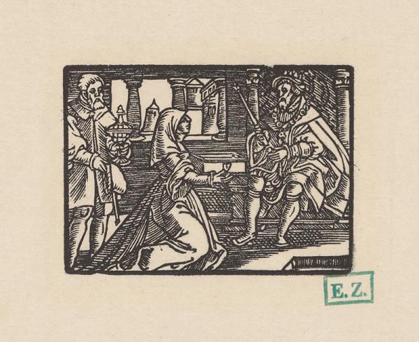 Kopisti, Hans Brosamer - Vdova po zemanovi odovzdáva kráľovi jeho klenoty