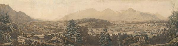 Rakúsky grafik z polovice 19. storočia - Veduta tirolského mesta