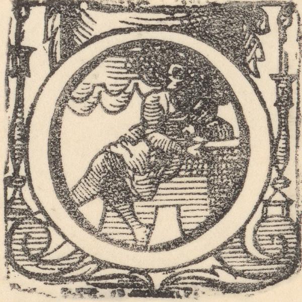 Ilustrátor zdôrazňujúci objem, Jan Willenberger, Virgil Solis ml. – Iniciála O s figúrou a dvoma svietnikmi