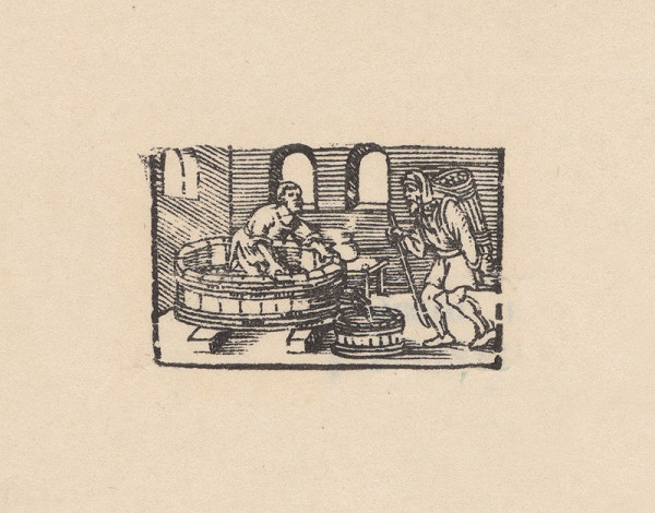 Remeselný kopista, Hans Sebald Beham – Kalendárové záhlavie mesiaca október