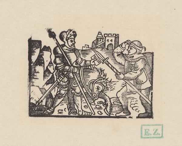 Kopisti, Hans Brosamer – Rytier odovzdáva list vojakovi pod hradom