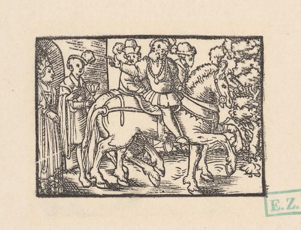Kopisti, Hans Brosamer – Traja jazdci sa lúčia so šľachtickým párom pred hradnou bránou