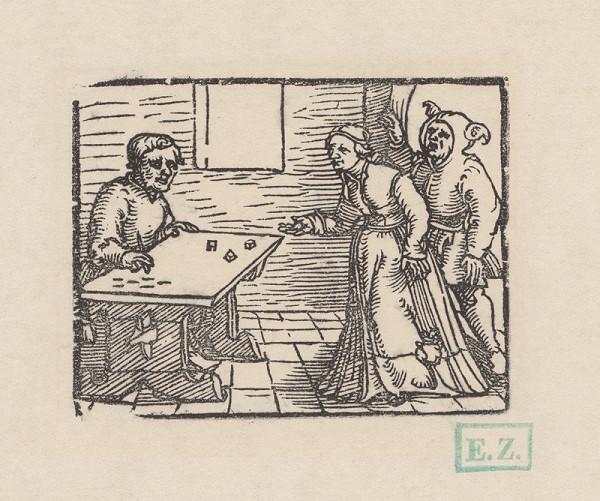 Erhard Schön – Žena, muž a šašo hrajúci kocky