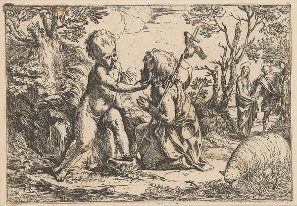 Guido Reni – Svätý Ján a malý Ježiš so Svätou Rodinou v pozadí