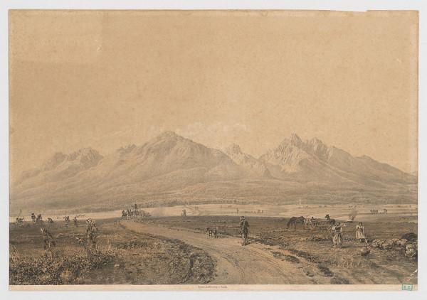 uhorský ? litograf z 2. polovice 19. storočia Stredoeurópsky - Horská krajina s figurálnou štafážou