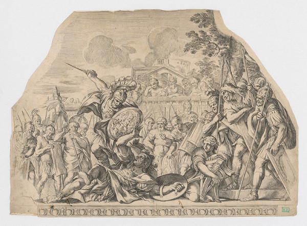 Stredoeurópsky grafik z 2. polovice 19. storočia – Bitka rímskych vojakov